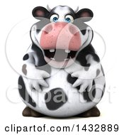 Clipart Of A 3d Chubby Cow On A White Background Royalty Free Illustration by Julos