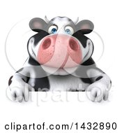 Clipart Of A 3d Chubby Cow Over A Sign On A White Background Royalty Free Illustration by Julos