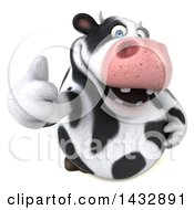 Clipart Of A 3d Chubby Cow Holding Up A Thumb On A White Background Royalty Free Illustration by Julos
