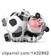 Clipart Of A 3d Chubby Cow Resting On His Side On A White Background Royalty Free Illustration by Julos