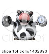 Clipart Of A 3d Chubby Cow Working Out With Dumbbells On A White Background Royalty Free Illustration by Julos