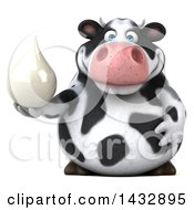 Clipart Of A 3d Chubby Cow Holding A Milk Drop On A White Background Royalty Free Illustration by Julos