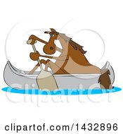 Cartoon Brown Horse Paddling A Canoe