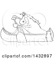 Cartoon Black And White Lineart Horse Paddling A Canoe