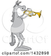 Cartoon Gray Musician Horse Playing A Trumpet