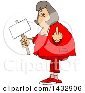Cartoon Chubby White Woman Holding Up A Middle Finger And Blank Sign