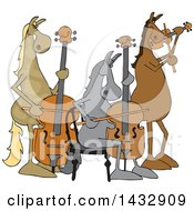Cartoon Group Of Horse Musicians Playing A Cello Double Bass And Violin