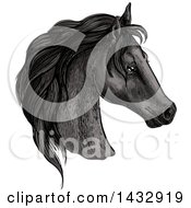 Sketched And Color Filled Black Horse Head