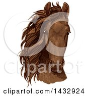 Sketched And Color Filled Brown Horse Head