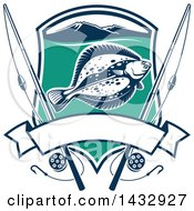 Blue White And Turquoise Shield With A Flounder Fish Mountains And Fishing Poles With A Blank Banner