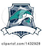 Clipart Of A White And Turquoise Tuna Fish Jumping For A Hook In A Shield Royalty Free Vector Illustration by Vector Tradition SM