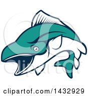 Clipart Of A White And Turquoise Jumping Tuna Fish Royalty Free Vector Illustration