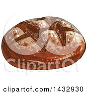 Clipart Of A Sketched Loaf Of Rye Bread Royalty Free Vector Illustration