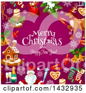 Clipart Of A Merry Christmas And Happy New Year Greeting And Border Of Festive Icons On Purple Royalty Free Vector Illustration by Vector Tradition SM