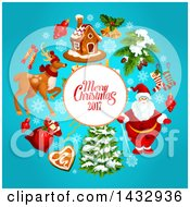 Clipart Of A Merry Christmas 2017 Greeting And Holiday Icons On Blue Royalty Free Vector Illustration by Vector Tradition SM
