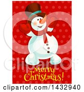 Clipart Of A Merry Christmas Greeting And Snowman On Red Royalty Free Vector Illustration