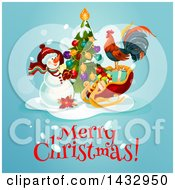 Clipart Of A Merry Christmas Greeting With A Snowman Tree Rooster And Sleigh On Blue Royalty Free Vector Illustration by Vector Tradition SM