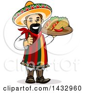 Cartoon Happy Male Hispanic Chef Giving A Thumb Up And Holding A Tray With A Spicy Pepper And Tacos