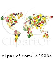 Clipart Of A Map Of Fruits Royalty Free Vector Illustration by Vector Tradition SM