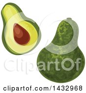 Clipart Of Avocados Royalty Free Vector Illustration by Vector Tradition SM