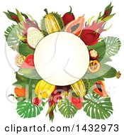 Clipart Of A Tropical Fruit Design Label With Text Space Royalty Free Vector Illustration by Vector Tradition SM