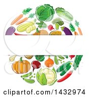 Clipart Of A Blank Label Over A Circle Of Veggies Royalty Free Vector Illustration