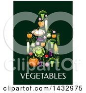 Poster, Art Print Of Cutting Board Formed Of Produce Over Text On A Dark Background