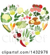 Clipart Of A Heart Formed Of Vegetables Royalty Free Vector Illustration by Seamartini Graphics
