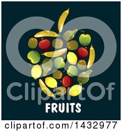 Clipart Of An Apple Formed Of Fruits Over Text On A Dark Background Royalty Free Vector Illustration