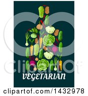 Clipart Of A Cutting Board Made Of Vegetables Over Vegetarian Text Royalty Free Vector Illustration by Vector Tradition SM
