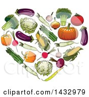 Clipart Of A Heart Formed Of Veggies Royalty Free Vector Illustration