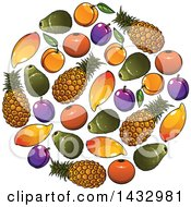 Clipart Of A Circle Of Fruits Royalty Free Vector Illustration