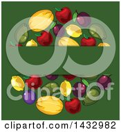 Clipart Of A Blank Text Box Over A Circle Of Fruit On Green Royalty Free Vector Illustration
