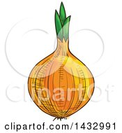 Clipart Of A Sketched Yellow Onion Royalty Free Vector Illustration