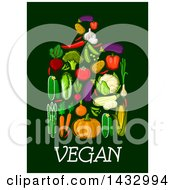 Clipart Of A Cutting Board Formed Of Produce Over Text On A Dark Background Royalty Free Vector Illustration