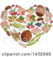 Clipart Of A Sketched Heart Made Of Fruits And Nuts Royalty Free Vector Illustration