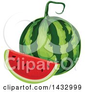 Clipart Of A Watermelon And Wedge Royalty Free Vector Illustration by Vector Tradition SM