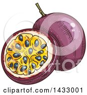 Clipart Of A Sketched Passion Fruit Royalty Free Vector Illustration