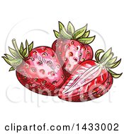 Clipart Of Sketched Strawberries Royalty Free Vector Illustration by Vector Tradition SM