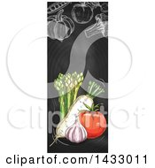 Clipart Of A Vertical Website Banner Of Sketched Produce On A Blackboard Royalty Free Vector Illustration