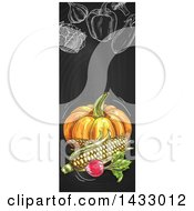 Vertical Website Banner Of Sketched Produce On A Blackboard