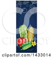 Poster, Art Print Of Vertical Website Banner Of Sketched Produce On Blue