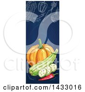 Clipart Of A Vertical Website Banner Of Sketched Produce On Blue Royalty Free Vector Illustration