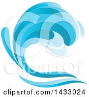 Clipart Of A Blue Splash Wave Royalty Free Vector Illustration by Seamartini Graphics