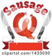 Clipart Of Sausages With Knives And Text Over A Banner Royalty Free Vector Illustration