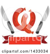 Clipart Of Sausages With Knives Over A Banner Royalty Free Vector Illustration