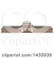 Clipart Of A Line Drawing Styled American Landmark Museum Of Science And Industry Royalty Free Vector Illustration