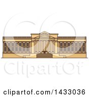 Clipart Of A Line Drawing Styled American Landmark Museum Of Art Royalty Free Vector Illustration