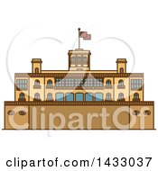 Clipart Of A Line Drawing Styled Mexican Landmark Chapultepec Castle Royalty Free Vector Illustration by Vector Tradition SM