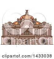Clipart Of A Line Drawing Styled Mexican Landmark Mexico Palace Of Fine Arts Royalty Free Vector Illustration